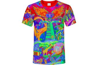 (Large, Piano Jungle) - aofmoka Ultraviolet Fluorescent Handmade Art Neon Blacklight Reactive Print T-Shirt