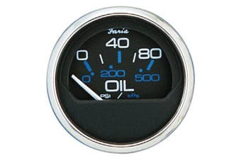 (Black) - Faria Chesapeake SS Instruments - Oil Pressure Gauge (0-80 psi)