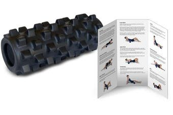 (30cm , Black) - RumbleRoller - Textured Muscle Foam Roller Manipulates Soft Tissue Like A Massage Therapist