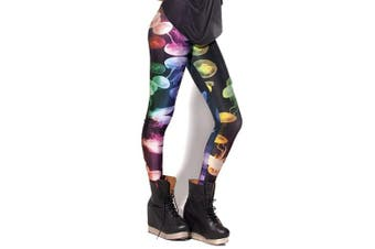 (Colorful) - Alive Women's New Design Supernova Unicorn Rainbow Digital Printed Tight Leggings , One size