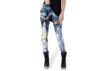 (Cheshire Cat) - Alive Women's New Design Supernova Unicorn Rainbow Digital Printed Tight Leggings , One size