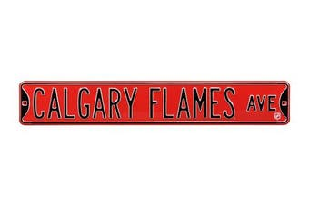 (Calgary Flames, 90cm  x 15cm ) - Authentic Street Signs NHL Officially Licenced, REAL 0.9m, Premium Grade Solid Steel Embossed STREET SIGN- Prime Wall Decor for Home, Office, Man Cave- Perfect Gift for Him!!