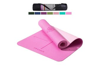(Cyan) - YAWHO Yoga Mat Fitness Mat Eco Friendly Material SGS Certified Ingredients TPE Specifications 180cm x 70cm Thickness 0.6cm Non-Slip Extra Large Yoga Mat with Carry Bag