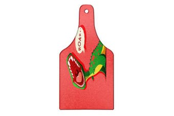 Ambesonne Dinosaur Cutting Board, Aggressive Prehistoric Cartoon Animal Roaring Open Mouth Wildlife Image, Decorative Tempered Glass Cutting and Serving Board, Wine Bottle Shape, Coral Green Yellow