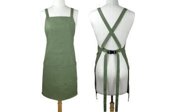 (100% Cotton Canvas - Thick Sturdy, Green) - Soft Thick Professional Artist Apron, Cross Back + Fasten/Quick Release Buckle + 6 Pockets + 2 Towel Loops + Hidden Headphone Hole For Artist Kitchen, Adjustable M to XXL, 70cm x 80cm - 100% Cotton Canvas