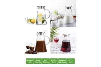 (2010mls) - 2.0 Litre 2010mls Glass pitcher with lid covered gallon iced tea pitcher lidded water jug hot cold water ice tea wine coffee milk and juice beverage carafe