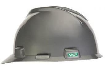 (Standard, With Staz-On Suspension, Silver) - MSA 815562 V-Gard Slotted Full-Brim Protective Hat.