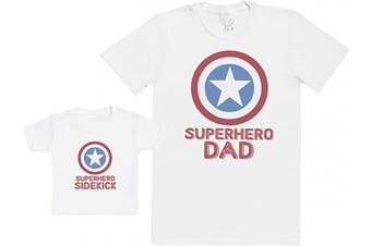 (M & 6-12M, White) - Pre-Father's Day Delivery - Superhero Sidekick - Baby Gift Set with Baby T-Shirt & Father's T-Shirt