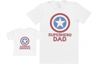 (L & 6-12M, White) - Superhero Sidekick - Baby Gift Set with Baby T-Shirt & Father's T-Shirt
