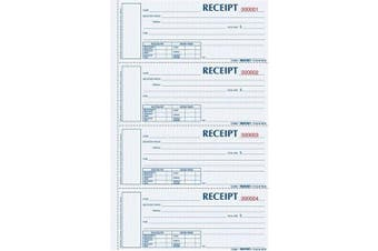 BLUELINE Rediform Money Receipt Book, Hardbound, 5.1cm x 17cm , 4 per Page, 200 Triplicates (S1657NCL)