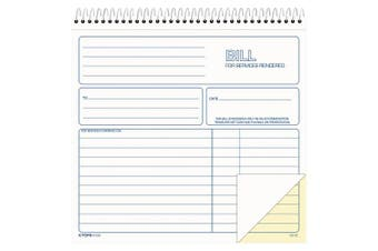 (1, White) - TOPS 2-Part Carbonless Bill for Services Rendered Book, 22cm x 21cm , 50 Sheets, White, (4133)