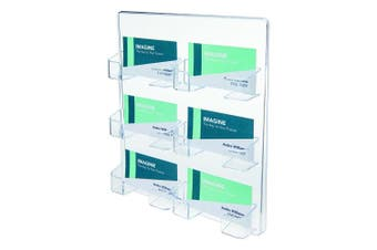 (6 Pocket, Clear) - deflect-o 70601 6-Pocket clear plastic wall mount business card holder, 8-3/8w x 1-1/2d x 9-3/4h
