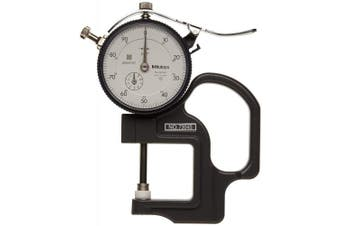 """(With Certificate of Traceability to NIST) - Mitutoyo 7304SCAL Dial Thickness Gauge with Calibration, Flat Anvil, Standard Type, 0"""" - 2.5cm Range, 0cm Graduations, +/-0.01cm Accuracy"""