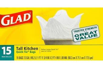 Glad 49.2l Quick Tie Tall Kitchen Bags 15 ct