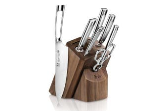 (8-Piece Knife Block Set) - Cangshan TN1 Series 1021950 Swedish Sandvik 14C28N Steel Forged 8-Piece Knife Block Set, Walnut