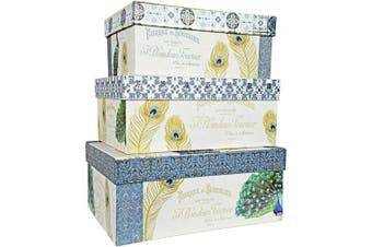 (Delicate Peacock) - ALEF Elegant Decorative Delicate PeacockThemed Nesting Gift Boxes -3 Boxes- Nesting Boxes Beautifully Themed and Decorated - Perfect for Gifts or Simple Decoration Around The House!