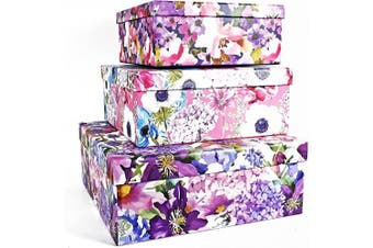 (Water Color Flowers) - ALEF Elegant Decorative Water Colour Flowers Themed Nesting Gift Boxes -3 Boxes- Nesting Boxes Beautifully Themed and Decorated - Perfect for Gifts or Simple Decoration Around The House!