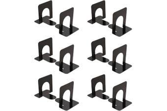 (6 PAIR, Black) - universal economy bookends, standard, 4 3/4 x 5 1/4 x 5, heavy gauge steel, black (6)