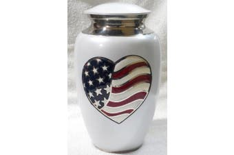 Ansons Urns Flag Heart Cremation Urn - Funeral Urn for Human Ashes - Large Adult Size Burial Urn - 100% Brass - White American Red White and Blue Flag Patriotic Veteran Urn
