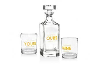 (3 Piece) - Godinger 3 Piece Whiskey Decanter Set for Liquor Scotch Bourbon or Wine, Set Includes 1 Ours Decanter & 2 DOF Yours & Mine Glasses