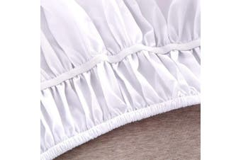 (Queen/King, White) - AYASW Bed Skirt 36cm Drop Dust Ruffle Three Fabric Sides Wrap Around (Queen or King White) Brushed Microfiber Adjustable Elastic