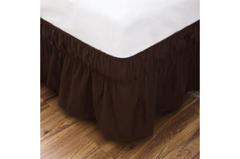 (Queen/King, Coffee) - AYASW Bed Skirt 36cm Drop Dust Ruffle Three Fabric Sides Wrap Around (Queen or King Coffee) Brushed Microfiber Adjustable Elastic