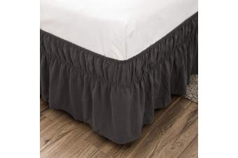 (Queen/King, Dark Grey) - AYASW Bed Skirt 36cm Drop Dust Ruffle Three Fabric Sides Wrap Around with Adjustable Elastic No Top (Queen or King Grey)
