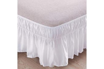 (Queen/King, Khaki) - AYASW Bed Skirt 36cm Drop Dust Ruffle Three Fabric Sides Wrap Around (Queen or King Taupe) Brushed Microfiber Adjustable Elastic