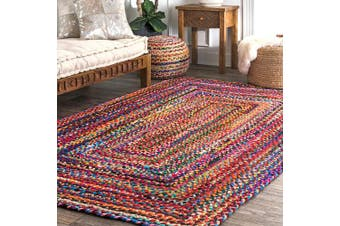 (0.9m x 1.5m, Multi) - nuLOOM Handmade Casual Cotton Braided Area Rugs, 0.9m X 1.5m, Multicolor