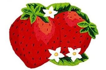 (Strawberry) - ABREEZE Anti Skid Toilet Red Rug Strawberry Kids Rug Colourful Handmade Floor Mats Non-Slip Princess Rugs, 80cm x 60cm