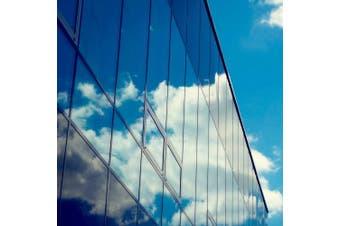 (90cm  x 4m, Blue Silver) - FILMGOO One Way Window Film Privacy Window Heat Control Flim Kit Anti-UV Static Glass Films Non-Adhesive Window Tint for Home and Office 90cm x 4m Blue Silver