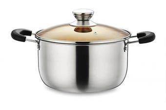 (3.8l) - Stainless Steel Stockpot, P & P CHEF 3.8l Stock Pot with Lid, Heat-Proof Double Handles - Dishwasher Safe