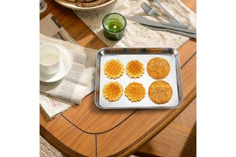 (25cm ) - Mini Stainless Steel Baking Sheets, HKJ Chef Baking Pans & Mini Cookie Sheets & Toaster Oven Tray Pans, Rectangle Size 10 x 20cm x 2.5cm & Non Toxic & Healthy,Superior Mirror & Easy Clean