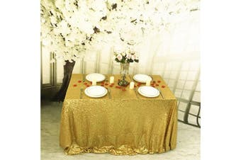 (230cm  x 340cm , Gold) - TRLYC 90inx132in Gold Sequin Tablecloth/Overlays for Wedding/Party