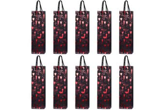 (Red glasses) - 10 Gift Bags Bottle Bags for Wine Prosecco and Champagne 15.75 x 4.72 x 3.54 inch - 40 x 12 x 9 cm - Red Glasses