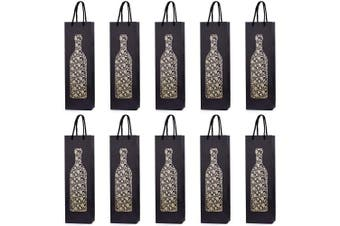 (Golden bottle) - 10 Gift Bags Bottle Bags for Wine Prosecco and Champagne 15.75 x 4.72 x 3.54 inch - 40 x 12 x 9 cm - Golden Bottle