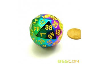 Bescon New Fantasy Iridescent Solid Metal 60 Sides Dice, Rainbow Metallic D60