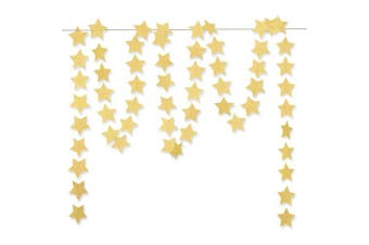 "(2.8"" (7cm), Glitter Gold) - Glitter Gold Paper Star Hanging Garland - Twinkle Star Banner for Festival Home Wall Decoration, Birthday, Wedding Photo Booth Props, 7.1cm , Totally 23 ft/7m"
