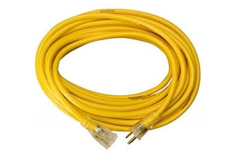(15m) - Yellow Jacket 2887 14/3 Heavy-Duty 15-Amp SJTW Contractor Extension Cord with Lighted Ends, 15m