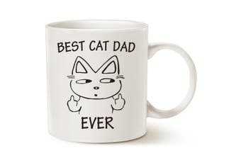 MAUAG MUG Funny Cat Dad Coffee Mug for Cat Lovers - Best Cat Dad Ever with Middle Finger - Best Cute Christmas Gifts for Dad Porcelain Cup White, 410ml