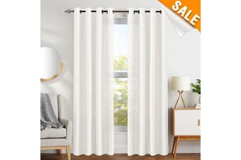 (L63| Grommet, Faux Silk| White) - White Faux Silk Curtains for Bedroom Dupioni Light Reducing Window Curtain for Living Room Satin Drapes Privacy Window Treatments Grommet Top 160cm Long, 2 Panels