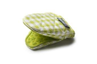 (Lime) - Zeal Gingham Mini Mitt Pot Holder, Cotton, Lime, 17.5 x 13.5 x 2.5 cm