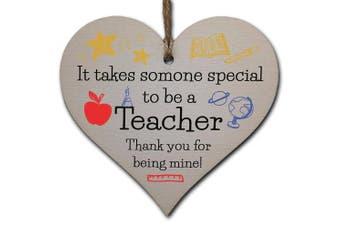 Handmade Wooden Hanging Heart Plaque Gift for Special Teacher Thank You Keepsake