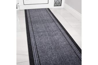 (Length: 1' (30cm)) - eXtreme Grey Rubber Backed Very Long Hallway Hall Runner Narrow Rugs Custom Length - Sold and Priced Per Foot (Length: 1' (30cm))