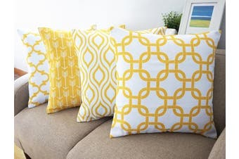 (Yellow) - YouLoveHome Durable Cotton Linen Square Decorative Throw Cushion Covers Home Decorative Pillowcases 46cm x 46cm Set of 4 -Series (Yellow)