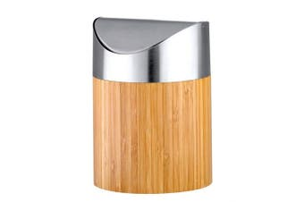 Axentia Cosmetic Pedal Bin Bamboo and Stainless Steel Matt Brushed Small Cosmetic Mini Bin with Insert Bathroom Waste Bin with Swinging Lid 0.8 Litres Silver Decor 12 x 12 x 16.5 cm