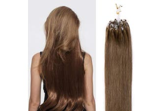 "(46cm , #6 Light Brown) - 16""18""20""22"" Micro Loop Hair Extensions Human Hair 100 Strands 50g - 100% Remy Real Hair Micro Ring Beads Straight (18"" #6 Light Brown)"