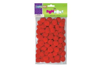 Creativity Street Pom Pons 100-Piece x 2.5cm , Red