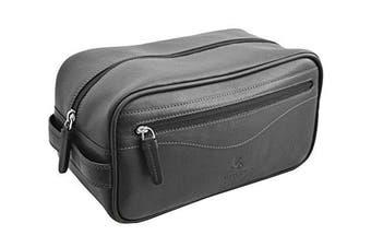 Visconti HT105 Leather Toiletry Travel Bag Dopp Kit (Black)