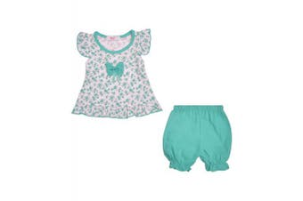 (24-30 Months, Mint) - LotMart Baby Girls Dress Top and Shorts 2 Piece Set Floral
